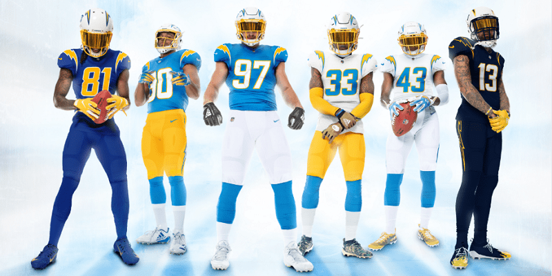 Chargers uniforms