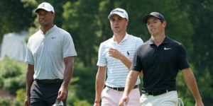 Tiger Woods, Justin Thomas, Rory McIlroy